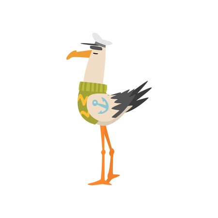 Seagull Sailor, Funny Bird Cartoon Character in Captain Cap, Side View Vector Illustration on White Background.