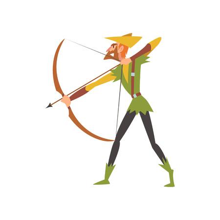Arquero masculino con arco, personaje de dibujos animados histórico medieval en traje tradicional ilustración vectorial sobre fondo blanco.