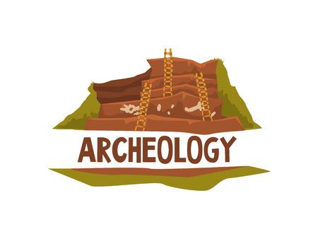 Archeology Science Poster Banner Template Vector Illustration Foto de archivo - 124597875