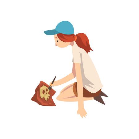 Archeologo femminile che si siede sulla terra e spazzare la sporcizia dalle ossa dello scheletro facendo uso della spazzola, scienziato di paleontologia che lavora all'illustrazione di vettore degli scavi