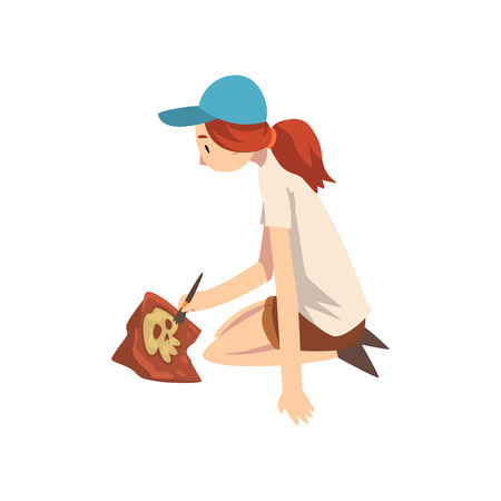 Female Archaeologist Sitting on Ground and Sweeping Dirt from Bones of Skeleton Using Brush, Paleontology Scientist Working on Excavations Vector Illustration