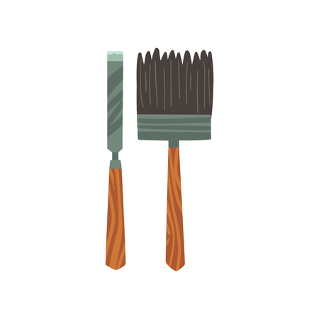 Chisel and Brush Archeology Equipment Vector Illustration