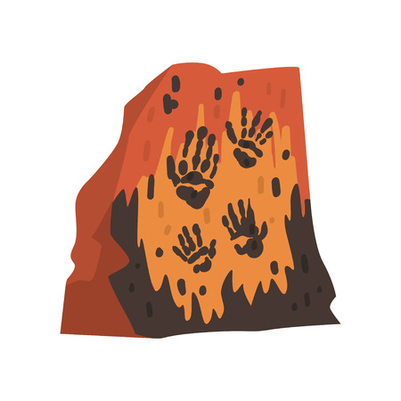 Prints of Palms of Prehistoric People on Stone, Cave Drawings, Archeology Science Vector Illustration