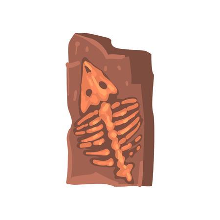 Restes de l'animal préhistorique dans la terre, illustration de vecteur d'artefact archéologique Vecteurs