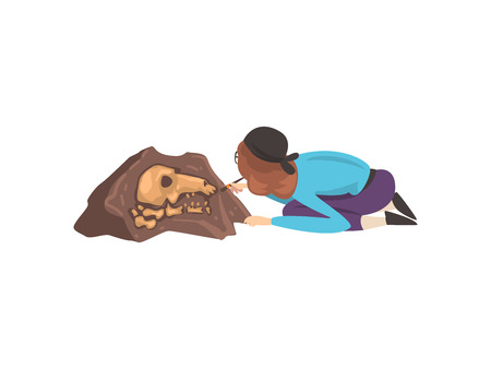 Female Archaeologist Sweeping Dirt from Bones of Skeleton Using Brush, Paleontology Scientist Working on Excavations Vector Illustration Illustration