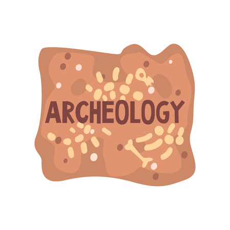 Archeology Science Poster Banner Template, Paleontology and History Vector Illustration on White Background.