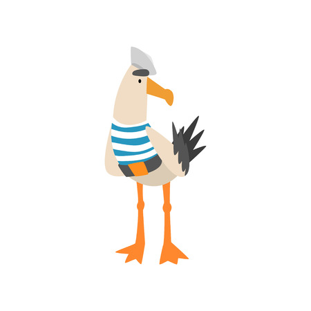 Seagull Sailor, Funny Bird Cartoon Character in Blue White Vest and Cap Vector Illustration on White Background.