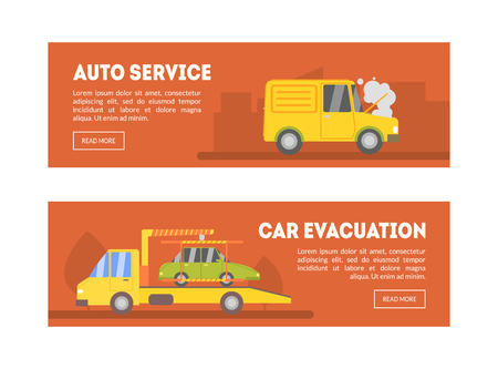 Auto Service, Car Evacuation Landing Page Template, Online Evacuation Service, Roadside Assistance Vector Illustration, Web Design Archivio Fotografico - 124597898