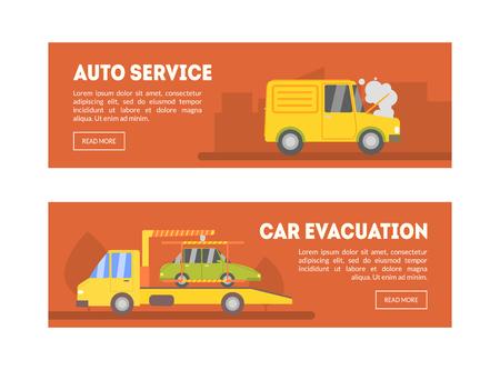 Auto Service, Car Evacuation Landing Page Template, Online Evacuation Service, Roadside Assistance Vector Illustration, Web Design