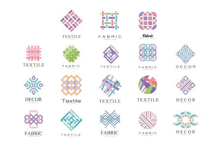 Textile, Fabric, Decor Logo Design Set, Tailor Shop, Sewing, Tailoring Industry Design Element Vector Illustration