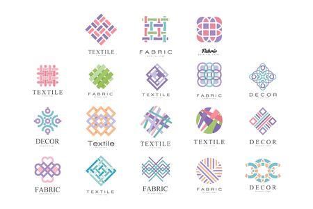 Textile, tissu, ensemble de conception de logo de décoration, atelier de couture, couture, élément de conception de l'industrie de la couture Illustration vectorielle