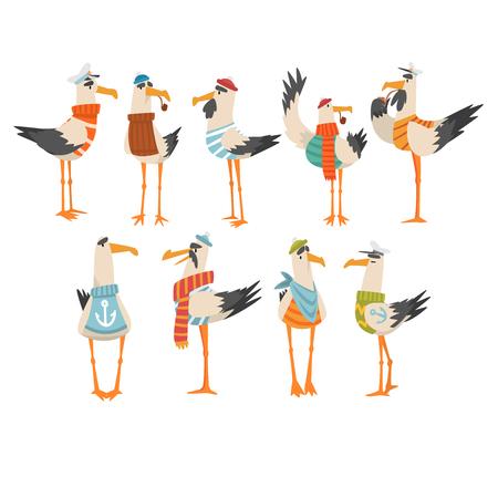 Conjunto de marineros de gaviotas, personajes de dibujos animados de pájaros divertidos ilustración vectorial sobre fondo blanco.