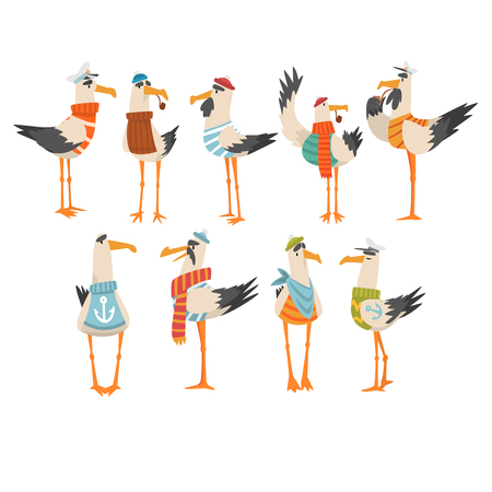 Seagulls Sailors Set, Funny Birds Cartoon Characters Vector Illustration on White Background.