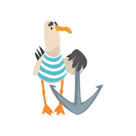 Seagull Sailor, Funny Bird Cartoon Character with Anchor Vector Illustration on White Background. 스톡 콘텐츠 - 128164335