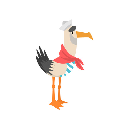 Seagull Sailor, Funny Bird Cartoon Character in Red Neckerchief Vector Illustration on White Background.