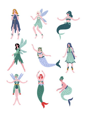 Beautiful Forest Fairies, Nymphs, Mermaids, Sirens Set Vector Illustration on White Background.