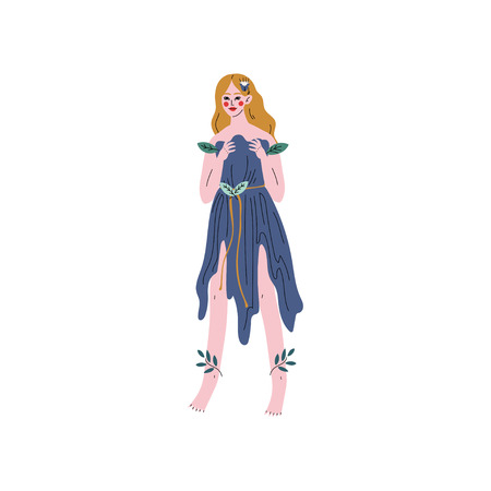 Forest Fairy or Nymph, Beautiful Girl in Blue Dress Vector Illustration on White Background.