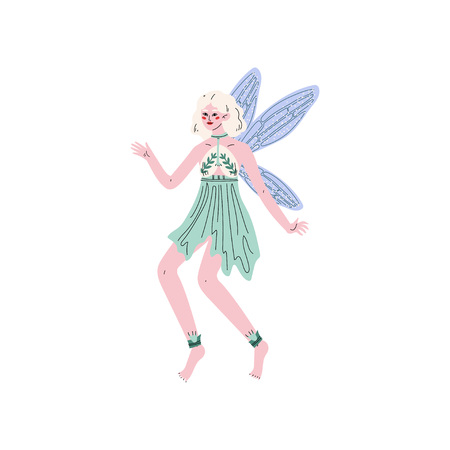 Beautiful Forest Fairy or Nymph with Wings, Pretty Blonde Girl in Green Dress Vector Illustration on White Background.