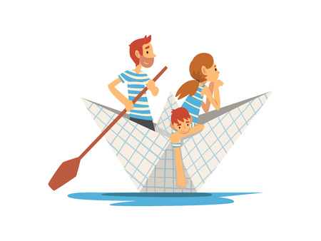 Father, Mother and Son in Blue White Striped T-Shirts Boating on River, Lake or Pond, Family Paper Boat Vector Illustration on White Background. Illustration