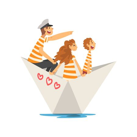 Father, Mother and Son in Orange White Striped T-Shirts Boating on River, Lake or Pond, Family Paper Boat Vector Illustration