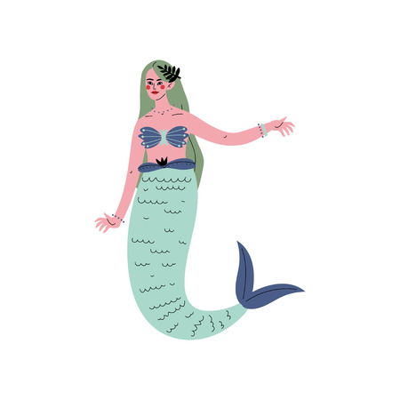 Beautiful Green Haired Mermaid or Siren Vector Illustration on White Background. Иллюстрация