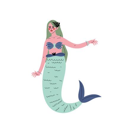 Beautiful Green Haired Mermaid or Siren Vector Illustration on White Background. Illustration
