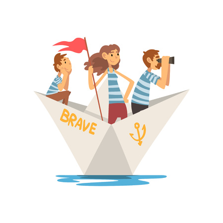 Father, Mother and Son in Striped T-Shirts Boating on River, Lake or Pond, Family Paper Boat Vector Illustration 向量圖像