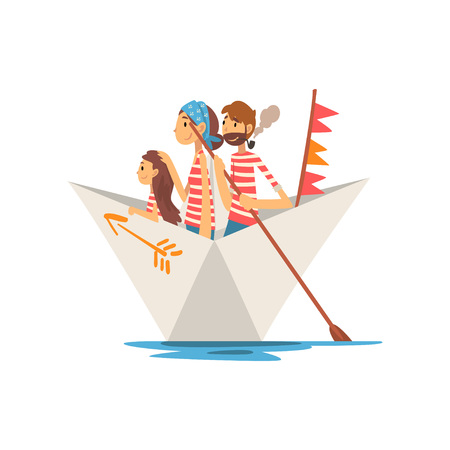 Father, Mother and Little Daughter in Red White Striped T-Shirts Boating on River, Lake or Pond, Family Paper Boat Vector Illustration on White Background.