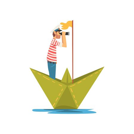 Homme en t-shirt rayé blanc rouge et jumelles en bateau sur la rivière, le lac ou l'étang en illustration vectorielle de bateau en papier Vecteurs