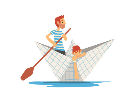 Father and Son in Blue White Striped T-Shirts Boating on River, Lake or Pond, Family Paper Boat Vector Illustration on White Background.