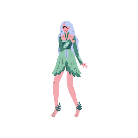 Forest Fairy, Beautiful Long Haired Girl in Green Dress Vector Illustration on White Background. Illustration