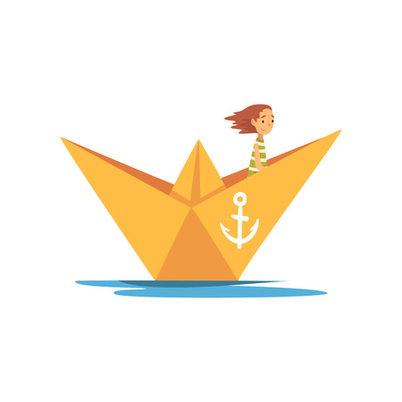 Child in Green White Striped T-Shirt Boating in Orange Paper Boat Vector Illustration on White Background.