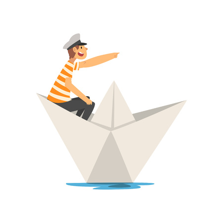 Man in Red White Striped T-Shirt Boating on River, Lake or Pond in Paper Boat Vector Illustration on White Background.