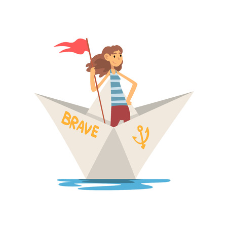 Woman in Striped Vest Boating with Flag in Paper Boat Vector Illustration Illustration