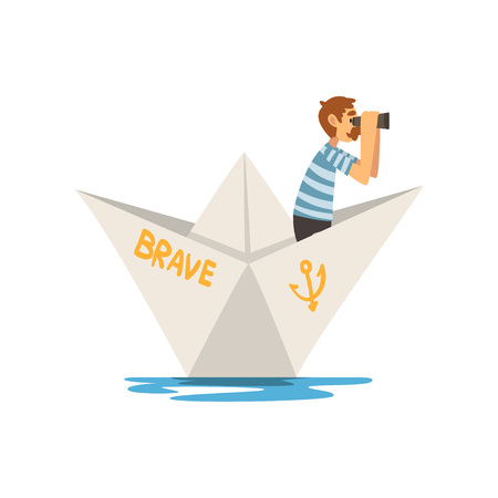 Man in Blue White Striped T-Shirt and Binoculars Boating on River, Lake or Pond in Paper Boat Vector Illustration on White Background.