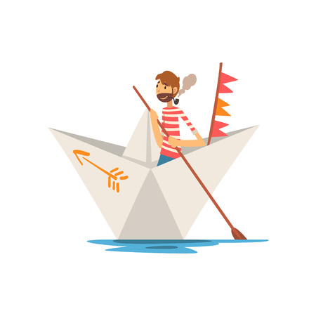 Man Sailor with Tobacco Pipe Boating on River, Lake or Pond in Paper Boat Vector Illustration on White Background.