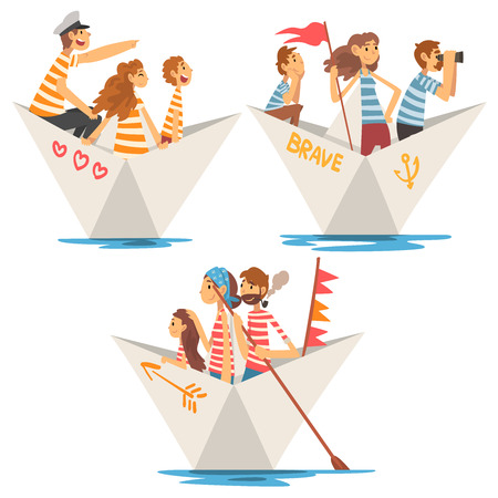 Fathers, Mothers and Kids in Striped T-Shirts Boating on River Set, Family Paper Boats Vector Illustration on White Background.