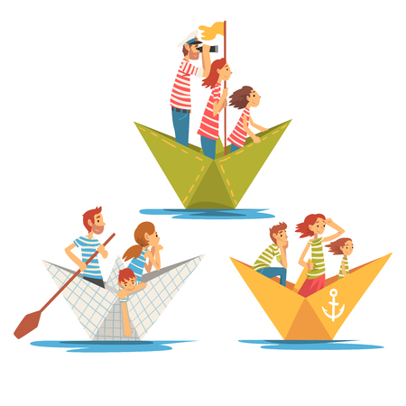 Parents and Kids in Striped T-Shirts Boating on River Set, Family Paper Boats Vector Illustration