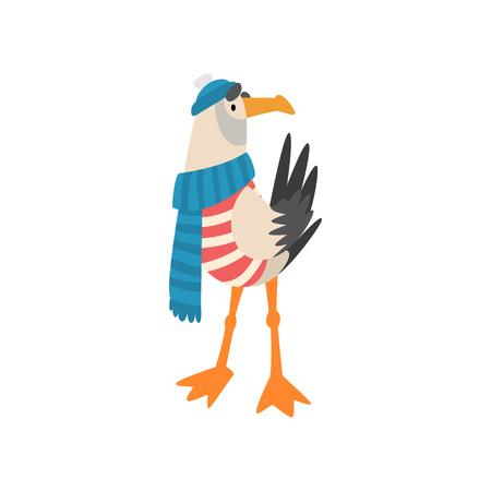 Seagull Sailor, Funny Bird Cartoon Character in Blue Scarf and Knitted Hat Vector Illustration on White Background. Vetores