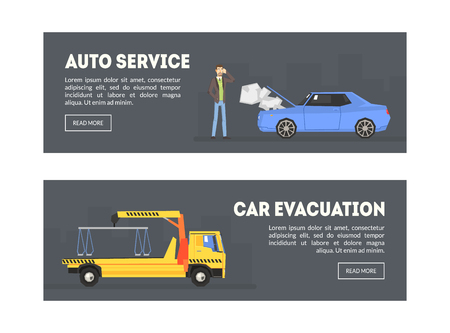 Auto Service, Car Evacuation Landing Page Template, Repair Station, Online Evacuation Service, Vector Illustration, Web Design, Flat Style Archivio Fotografico - 128164365