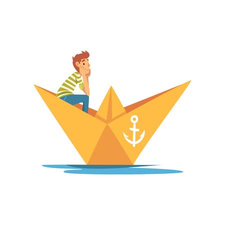 Garçon en T-shirt rayé blanc vert Navigation de plaisance en illustration vectorielle de bateau en papier sur fond blanc. Vecteurs