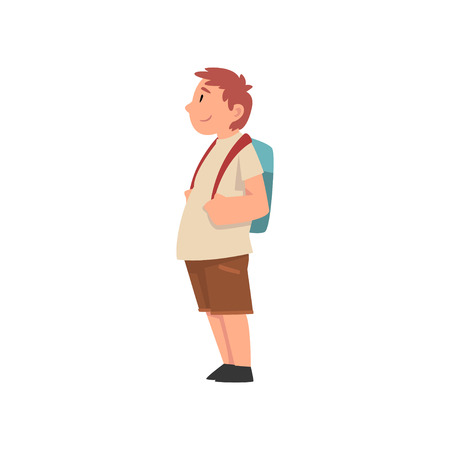 Fat Boy with Backpack, Side View, Cute Overweight Child Character Vector Illustration on White Background.