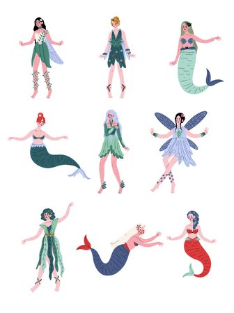 Collection of Beautiful Forest Fairies, Nymphs, Mermaids, Sirens Vector Illustration Illustration