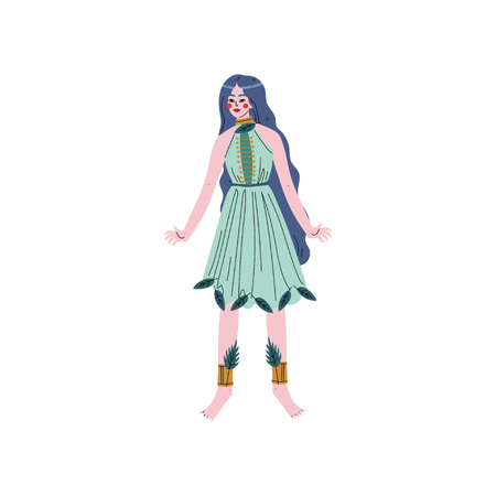 Beautiful Forest Fairy or Nymph, Blue Haired Girl in Green Dress Vector Illustration on White Background.  イラスト・ベクター素材