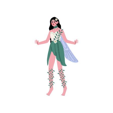 Forest Fairy or Nymph with Wings, Beautiful Brunette Girl in Green Dress Vector Illustration on White Background.