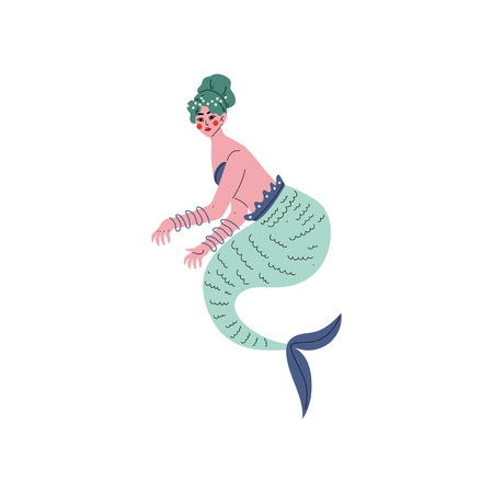 Beautiful Green Haired Mermaid Siren Vector Illustration on White Background.