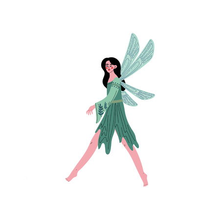 Beautiful Forest Fairy or Nymph with Wings, Pretty Brunette Girl in Green Dress Vector Illustration on White Background. Illustration