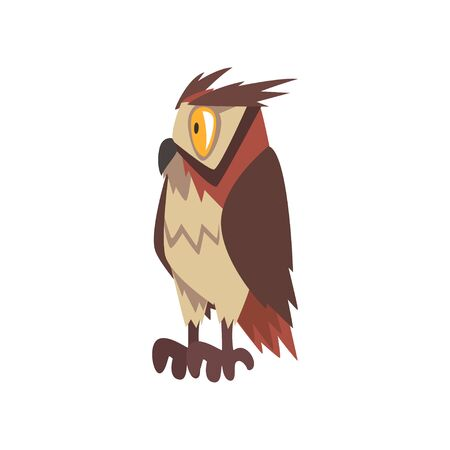 Eagle Owl Bird Character with Brown Plumage, Side View Vector Illustration on White Background.