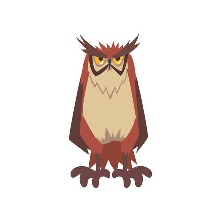 Eagle Owl Bird, Great Horned Owl Character with Brown Plumage Vector Illustration on White Background.