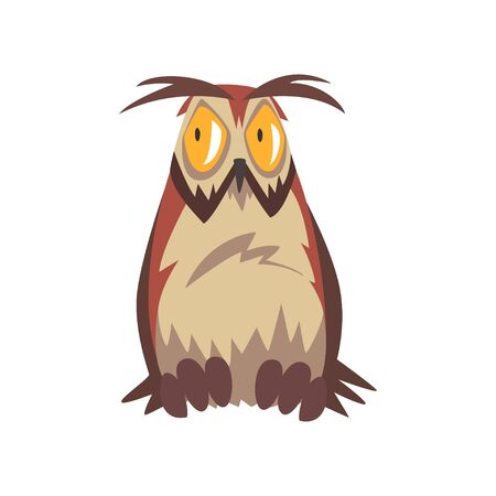 Eagle Owl Bird with Open Eyed, Great Horned Owl Character with Brown Plumage Vector Illustration on White Background.